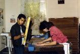 Students screenprinting