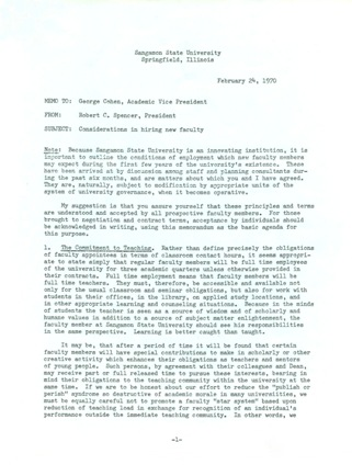 "Blue Memo (""Considerations in hiring new faculty"") draft, February 24, 1970"