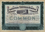 Springer Financial Documents Collection, Louisville and Northern Railway and Lighting Company Stock Certificate