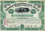 Springer Financial Documents Collection, Missouri, Kansas, and Texas Railway Company Stock Certificate