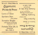 Walt Whitman Collection, Advertisement Card for Complete Poems & Prose