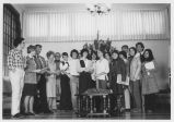 Sisters and Students in Lounge during Christmas Program - ca. 1980-1989
