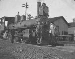 Bushnell Men Posing On Train Engine 1895