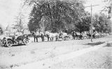 Auto and Horses Pulling Slabs for Mausoleum, Bushnell
