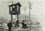 Colchester Railroad Gate Tower and Jim Barry c. 1911