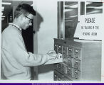 WIU Student at Card Catalog in Memorial Library