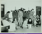 WIU Students in Home Management House at Christmas c. 1945