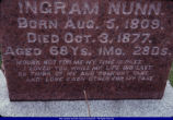 Tombstone of Ingram Nunn in Camp Creek Cemetery