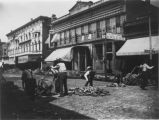 Laying first brick pavement on North Randolph Street late 1800s