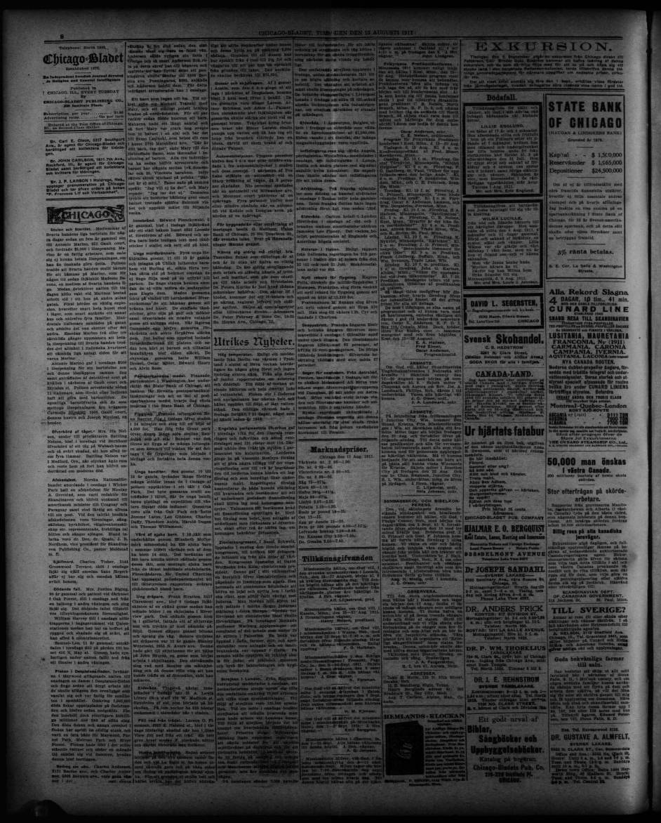 1911 08 15chicago Bladet Chicago Bladet Trinity International University Carli Digital Collections