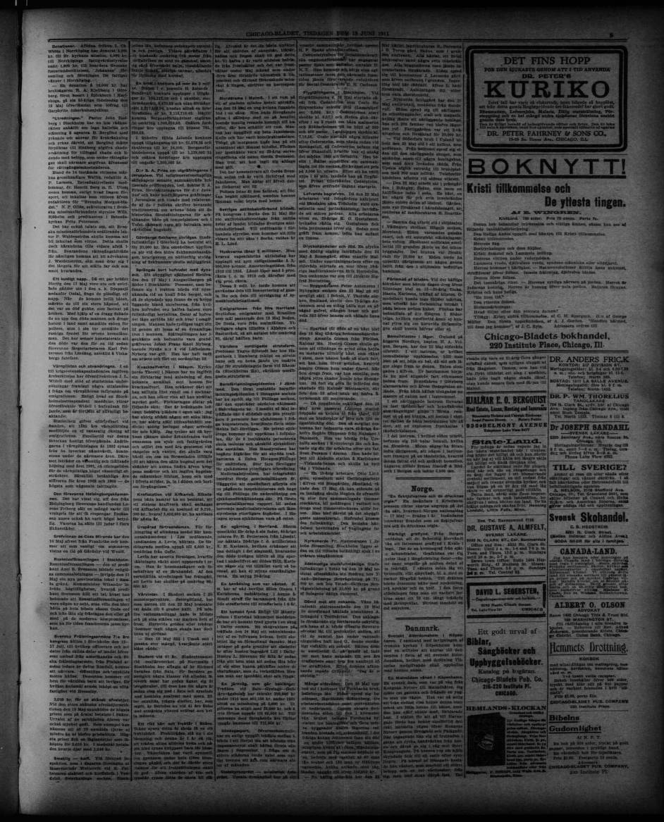 1911 06 13 Chicago Bladet Chicago Bladet Trinity International University Carli Digital Collections